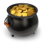 Black pot full of gold coins