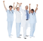 Group of doctors celebrating success